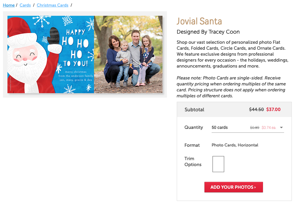 Jovial Santa Christmas Card