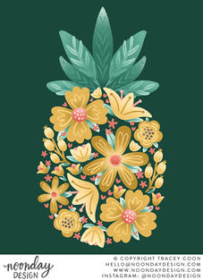 Floral Pineapple Illustration