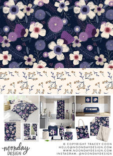 Navy & Purple Floral Surface Pattern Collection
