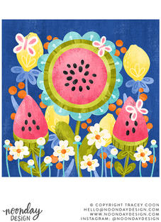 Fruity Flowers Watermelon and Lemons Illustration