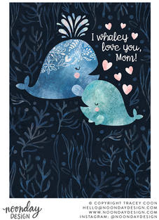 Whaley Love Mother's Day Card Illustration