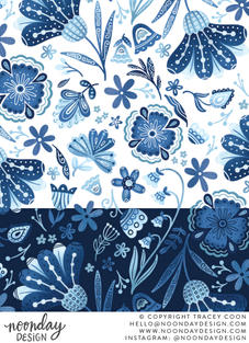 Blue Floral Surface Pattern