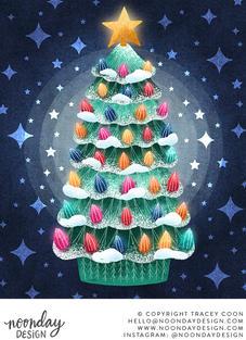Retro Ceramic Christmas Tree Illustration