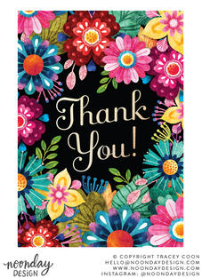 Bright Floral Thank You Card Illustration