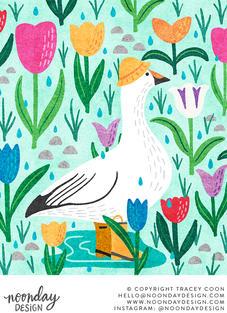 Snow Goose in Tulips Illustration