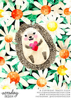 Happy Hedgehog in Daisies Illustration