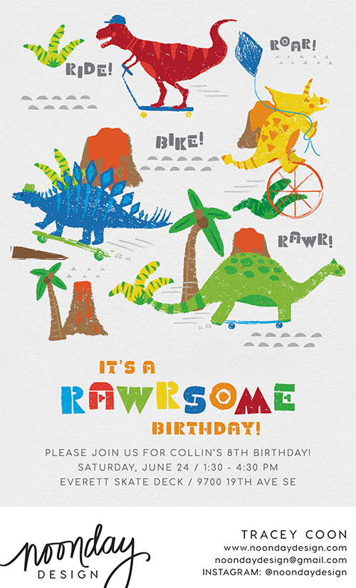 Totally Rawrsome Invitation