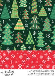 Christmas Trees and Snowflakes Surface Pattern Collection