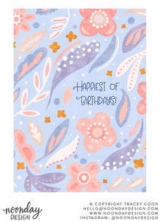 Happiest Birthday Pastel Illustration