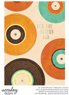 For the Record Father's Day Card Illustration