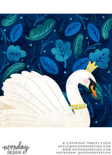 Regal Swan in Foliage Illustration