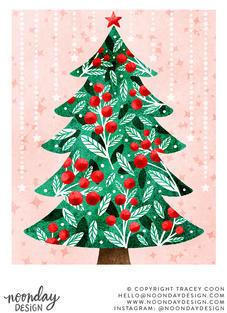 Berries and Foliage Christmas Tree Illustration