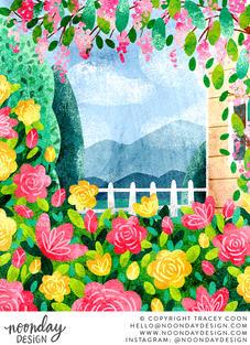 Flower Garden and House Illustration
