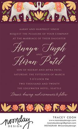 Elephants Wedding Invitation