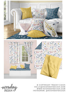 Delicate Pastel Blooms Surface Pattern Collection