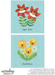 Punny Cats Tiger Lilies & Dandelions Art