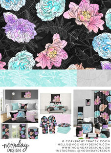 Watercolor Color Pops Floral Surface Pattern Collection