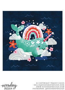 Head in the Clouds Narwhal Childrens Illustration