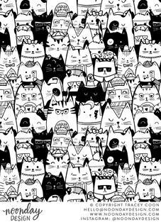 Kitty Committee Line Art Surface Pattern Design
