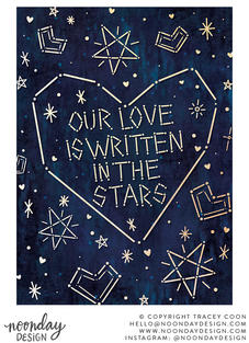Written in the Stars Valentine's Day Card Illustration
