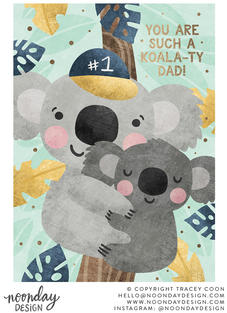Koalaty Dad Father's Day Card Illustration