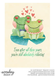 Absolutely Ribbeting Frog Anniversary Card Illustration
