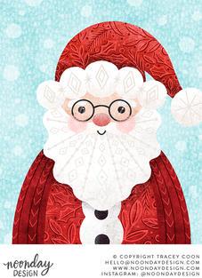 Patterned Santa Claus Christmas Illustration