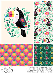 Cheeky Toucan Surface Pattern Collection