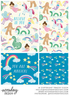 I Believe in You Children's Mythical Surface Pattern Collection