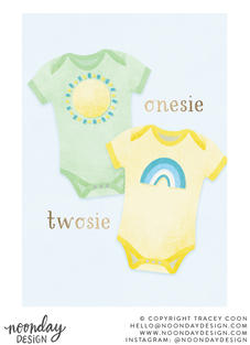 Onesie Twosie Twins New Baby ard Illustration