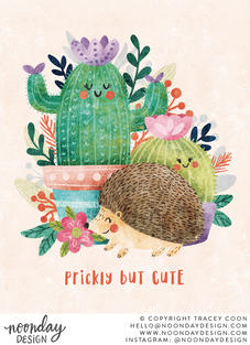 Prickly but Cute Hedgehog & Cactus Illustration
