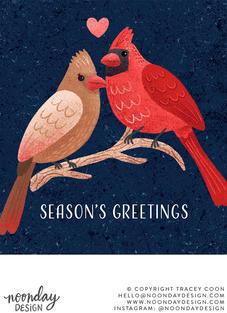 Season's Greetings Cardinals Christmas Card Illustration