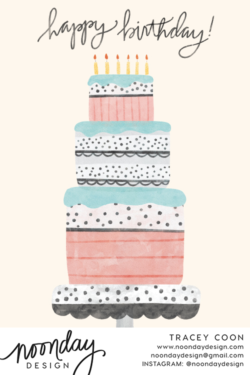 Pastel Birthday Cake Card