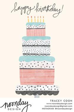 Pastel Birthday Cake Card