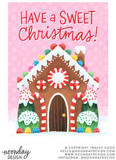 Have a Sweet Christmas Gingerbread House Card Illustration