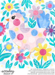 Easter Chicken with Flowers Illustration