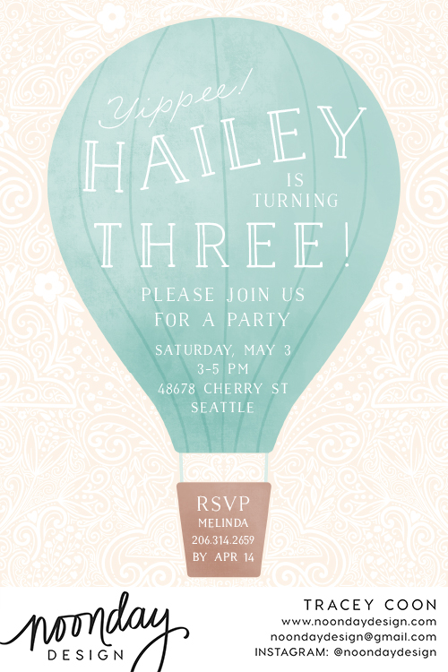 Hot Air Balloon Birthday Invitation