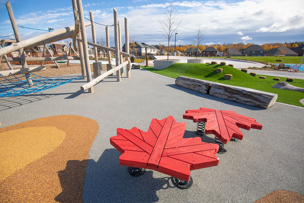 Playground in Sarnia, Ontario with maple leaf play structures and wooden jungle gym