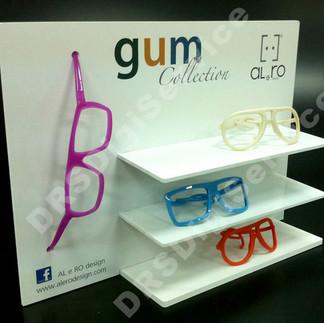 espositore per occhiali con mensole