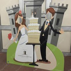 Sagoma Sposi con castello