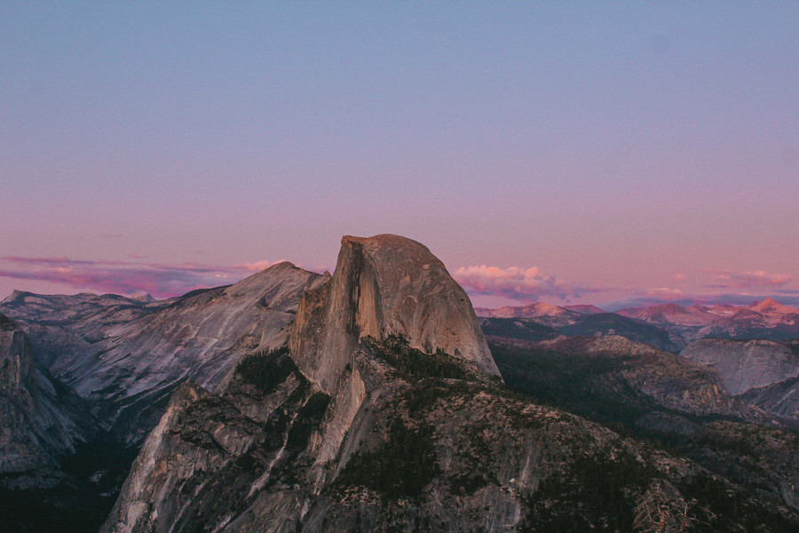 Infamous Half Dome at dusk.
