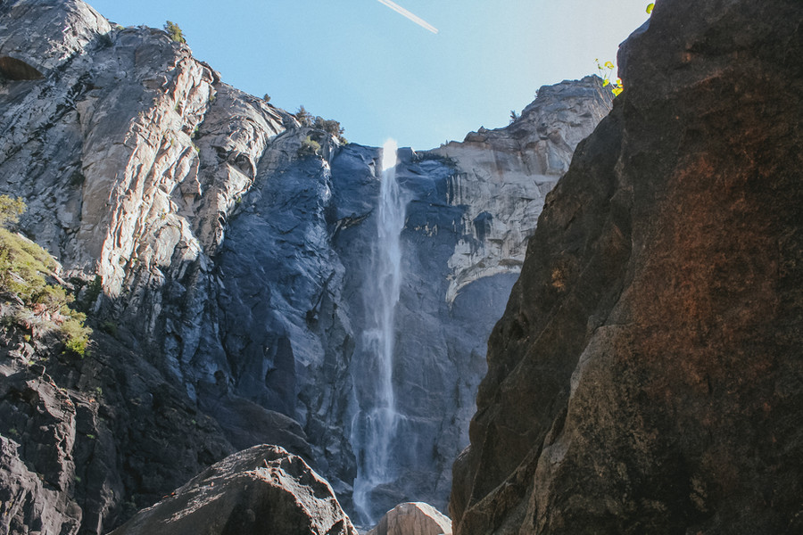 Yosemite Falls. The upper ridge plunges 1430ft, out of a total 2425 feet drop.