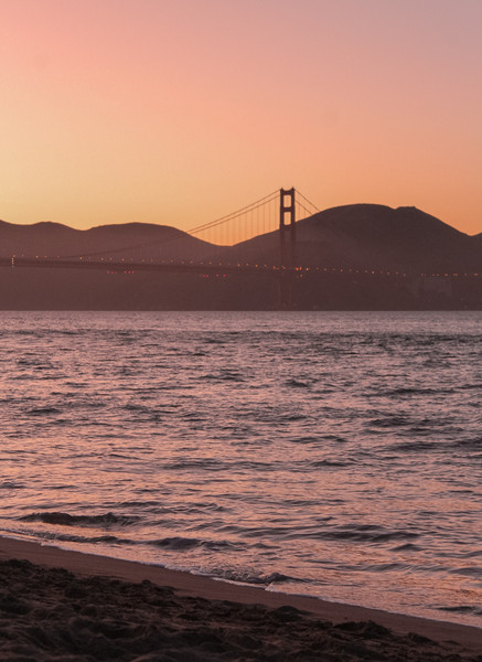 A sunset view from Crissy Field Beach. We watched as the Marin Headlands and Slackers Hill slowly silhouetted the bridge.