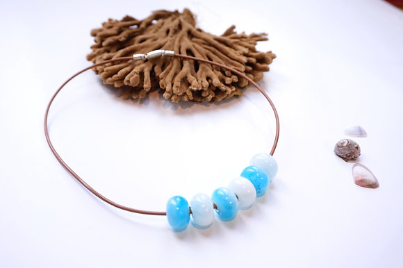 Resin bead and leather cord necklace