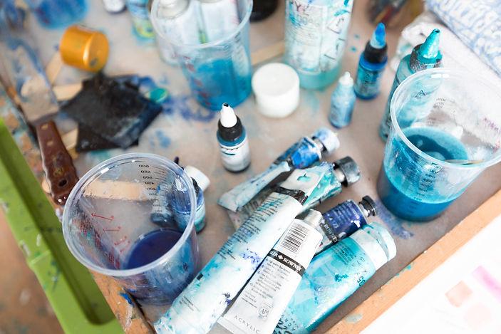 Paint pots and art materials