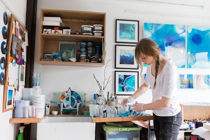 Amelia Mills in the studio