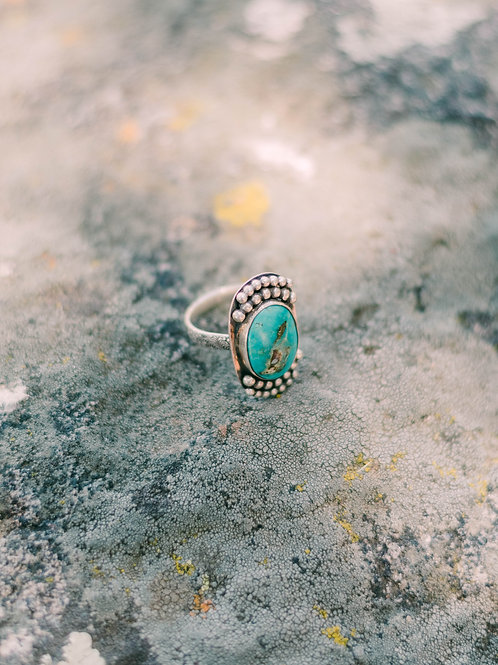Sonoran Rose Turquoise Ring, Size 8.25