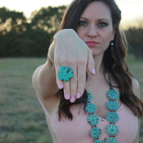 Turquoise Slab Adjustable Ring
