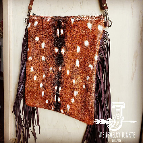 Axis Deer Hide and Leather Crossbody Purse