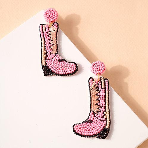 Walkin Boots Beaded Earrings